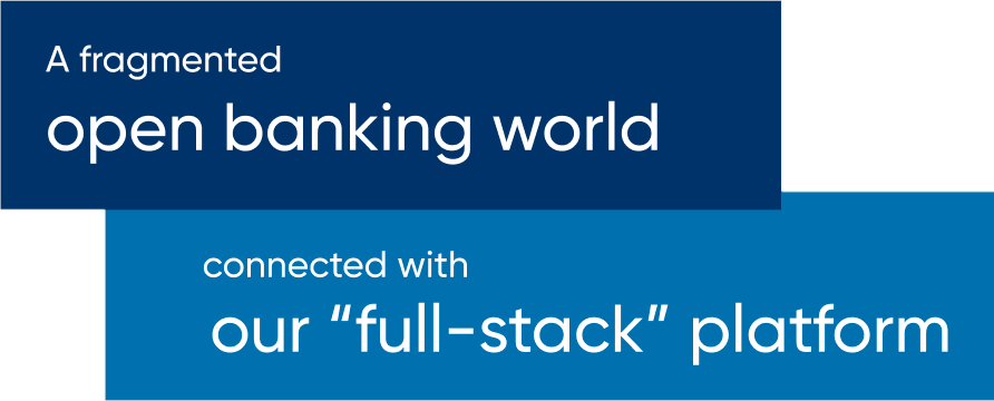 A fragmented open banking world connected with our full-stack platform.